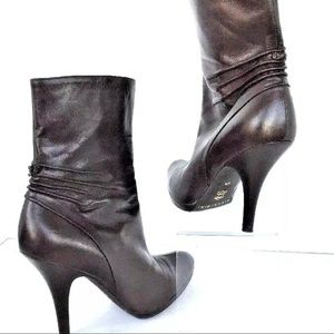 Women Ankle Boot Brown Fine Ruched Leather Dressy